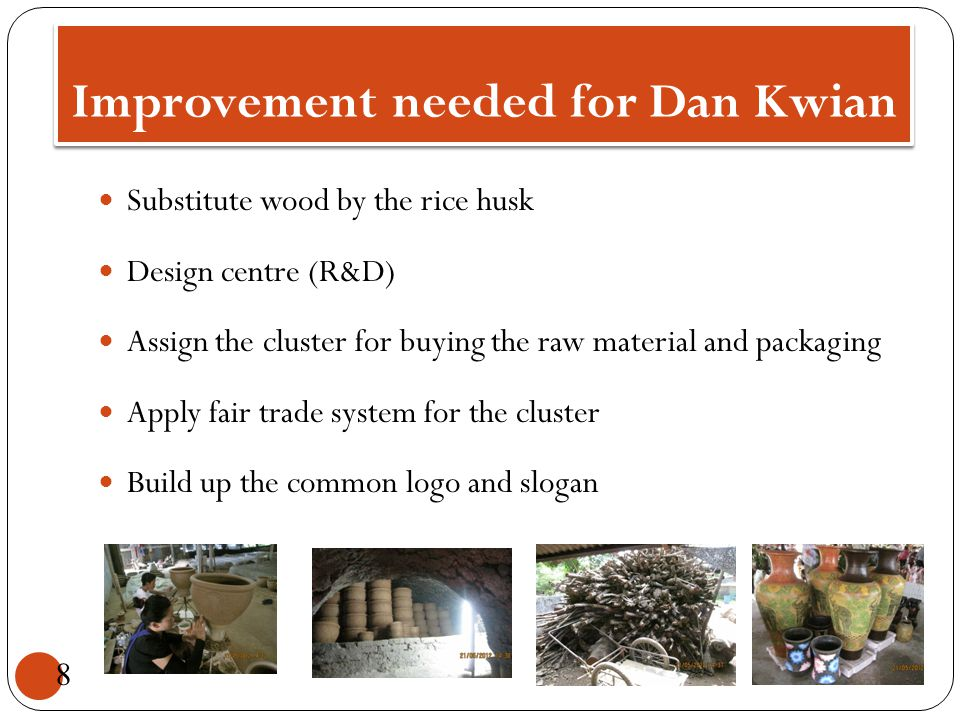 Improvement needed for Dan Kwian Substitute wood by the rice husk Design centre (R&D) Assign the cluster for buying the raw material and packaging App