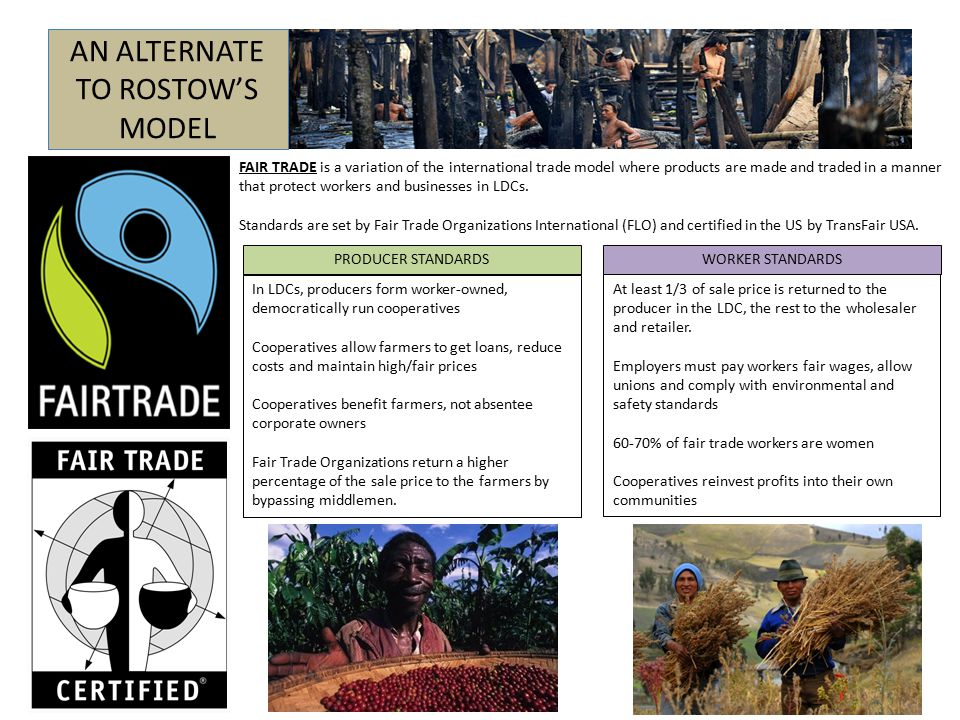 AN ALTERNATE TO ROSTOW'S MODEL FAIR TRADE is a variation of the international trade model where products are made and traded in a manner that protect