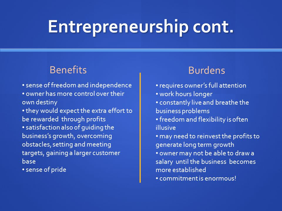 Entrepreneurship cont. Benefits Burdens sense of freedom and independence owner has more control over their own destiny they would expect the extra ef