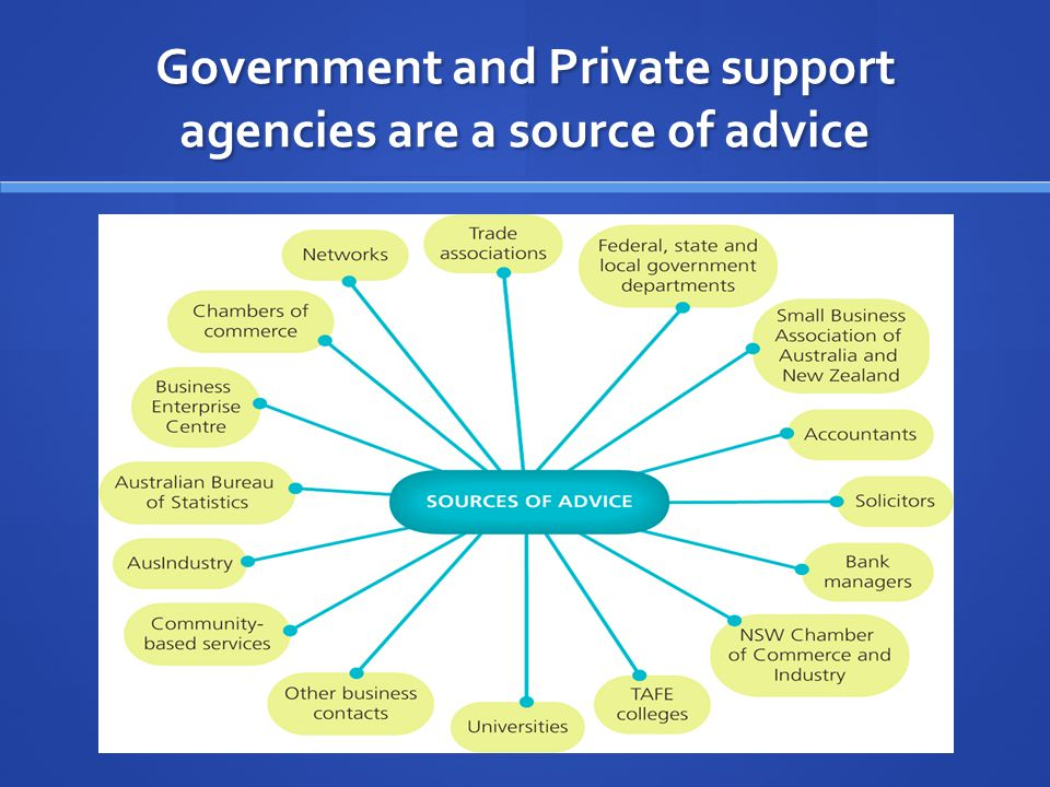 Government and Private support agencies are a source of advice