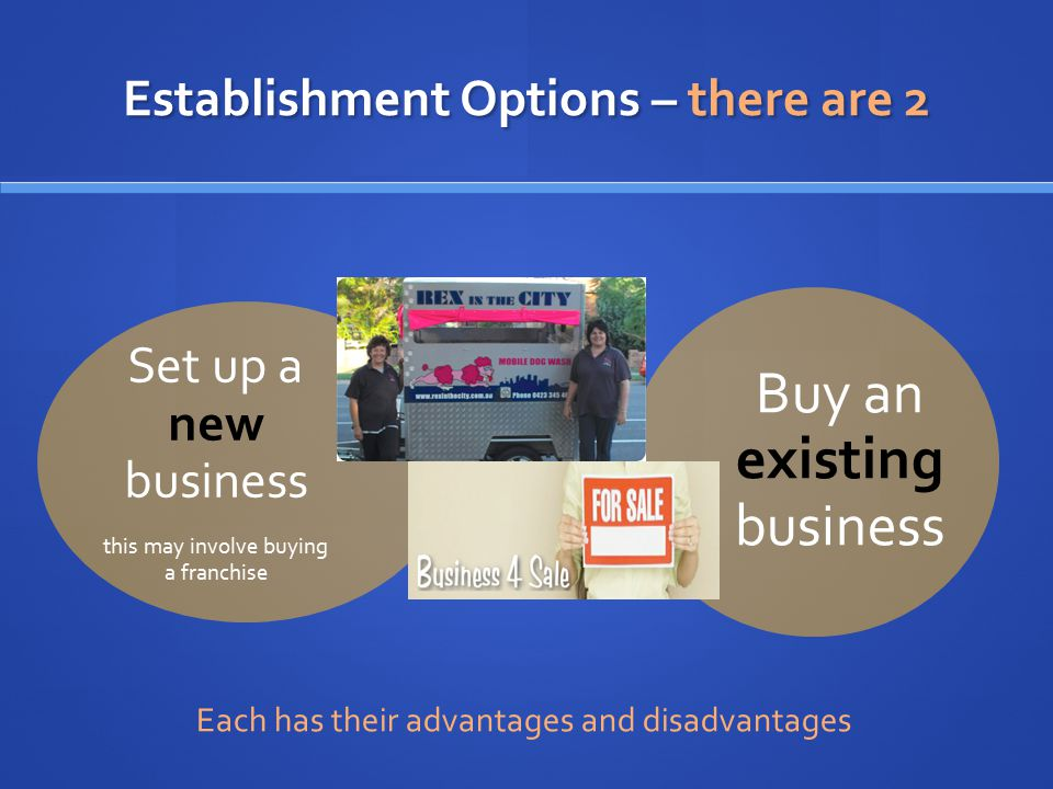 Establishment Options – there are 2 Set up a new business this may involve buying a franchise Buy an existing business Each has their advantages and d