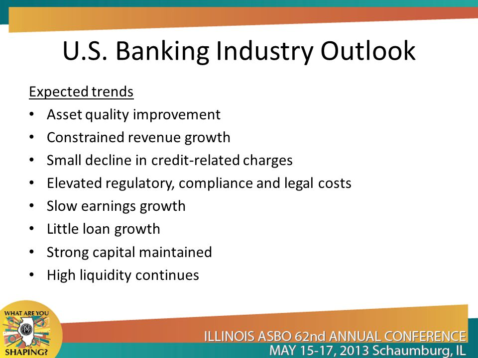 U.S. Banking Industry Outlook Expected trends Asset quality improvement Constrained revenue growth Small decline in credit-related charges Elevated re