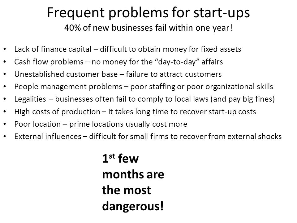 Frequent problems for start-ups 40% of new businesses fail within one year.