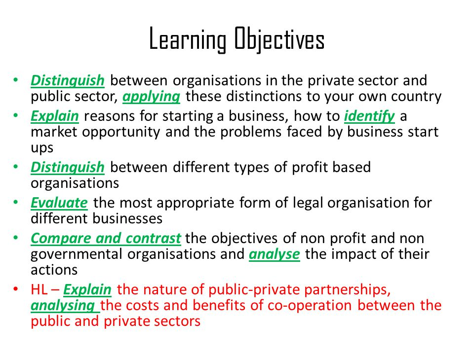 Learning Objectives Distinguish between organisations in the private sector and public sector, applying these distinctions to your own country Explain reasons for starting a business, how to identify a market opportunity and the problems faced by business start ups Distinguish between different types of profit based organisations Evaluate the most appropriate form of legal organisation for different businesses Compare and contrast the objectives of non profit and non governmental organisations and analyse the impact of their actions HL – Explain the nature of public-private partnerships, analysing the costs and benefits of co-operation between the public and private sectors