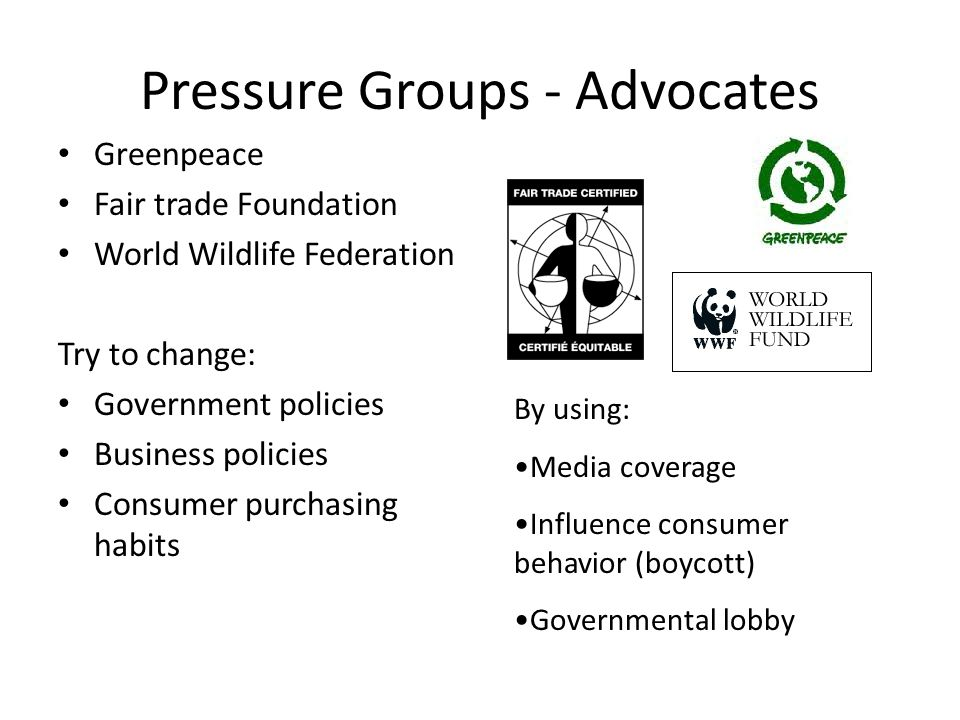 Pressure Groups - Advocates Greenpeace Fair trade Foundation World Wildlife Federation Try to change: Government policies Business policies Consumer purchasing habits By using: Media coverage Influence consumer behavior (boycott) Governmental lobby