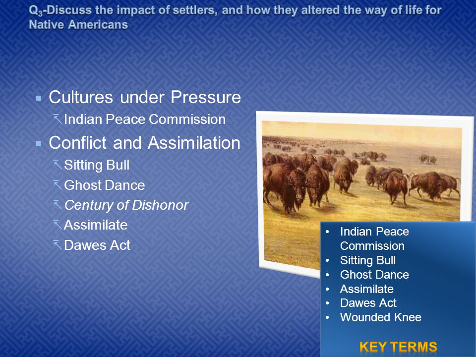  Cultures under Pressure  Indian Peace Commission  Conflict and Assimilation  Sitting Bull  Ghost Dance  Century of Dishonor  Assimilate  Dawe