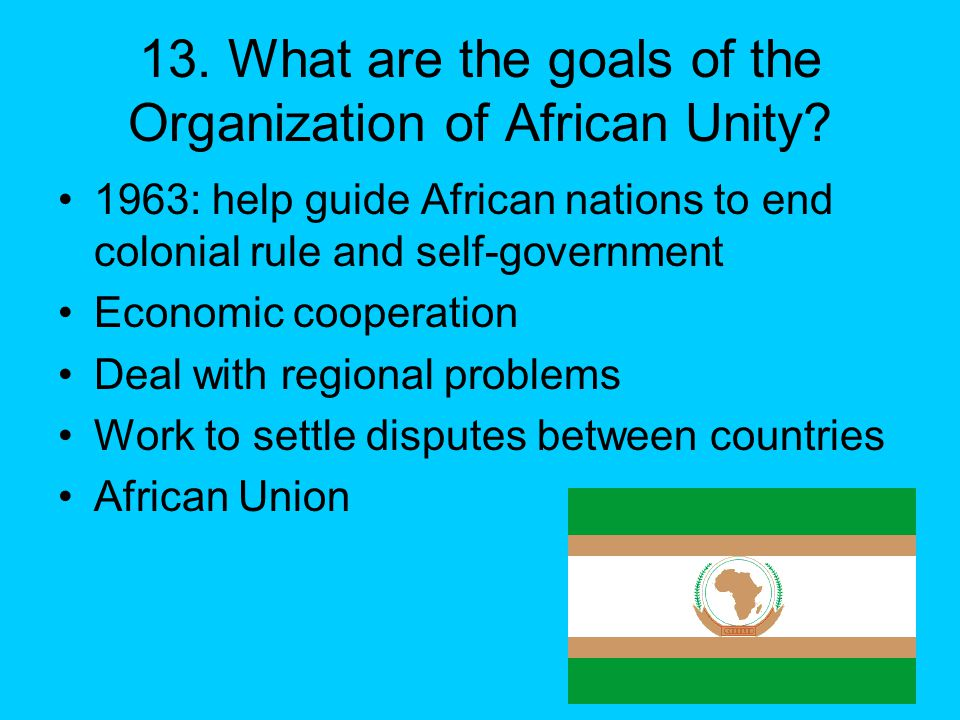 13. What are the goals of the Organization of African Unity.