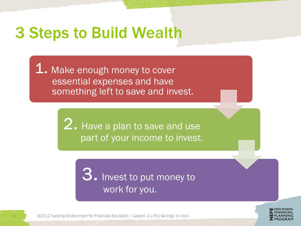 3 Steps to Build Wealth ©2012 National Endowment for Financial Education | Lesson 4-1 Put Savings to Work9 1.