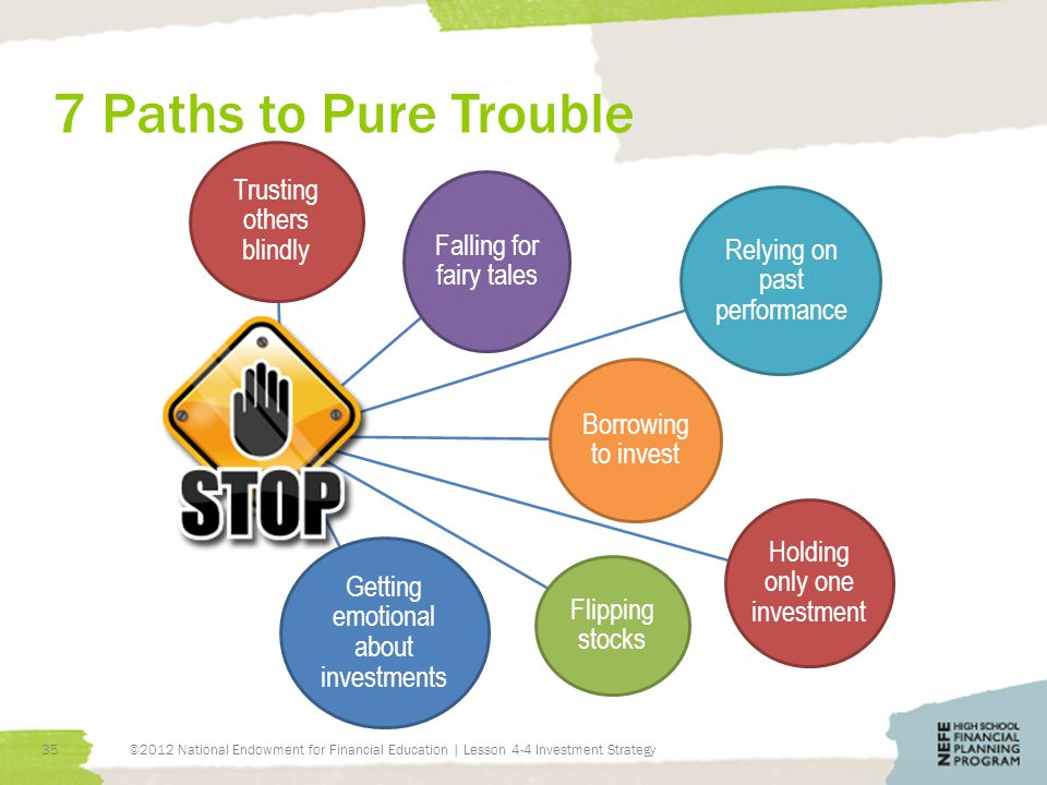 7 Paths to Pure Trouble ©2012 National Endowment for Financial Education | Lesson 4-4 Investment Strategy35 Trusting others blindly Falling for fairy tales Relying on past performance Borrowing to invest Holding only one investment Flipping stocks Getting emotional about investments