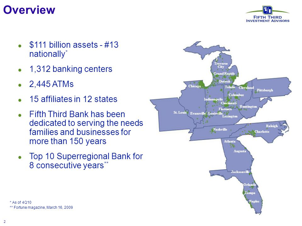 2 Overview * As of 4Q10 ** Fortune magazine, March 16, 2009 $111 billion assets - #13 nationally * 1,312 banking centers 2,445 ATMs 15 affiliates in 12 states Fifth Third Bank has been dedicated to serving the needs families and businesses for more than 150 years Top 10 Superregional Bank for 8 consecutive years ** Naples Raleigh Cincinnati Florence Louisville Lexington Nashville Atlanta Augusta Orlando Tampa Naples Raleigh Charlotte Huntington Pittsburgh Cleveland Columbus Toledo Detroit Grand Rapids Traverse City Chicago Evansville Jacksonville Indianapolis St.
