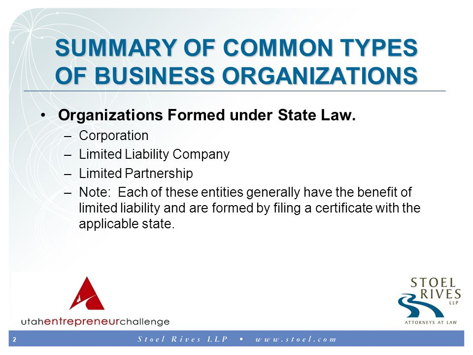 3 SUMMARY OF COMMON TYPES OF BUSINESS ORGANIZATIONS (Continued) Organizations Created by Private Agreement or Action –Sole Proprietorship – merely a person with an assumed business name.