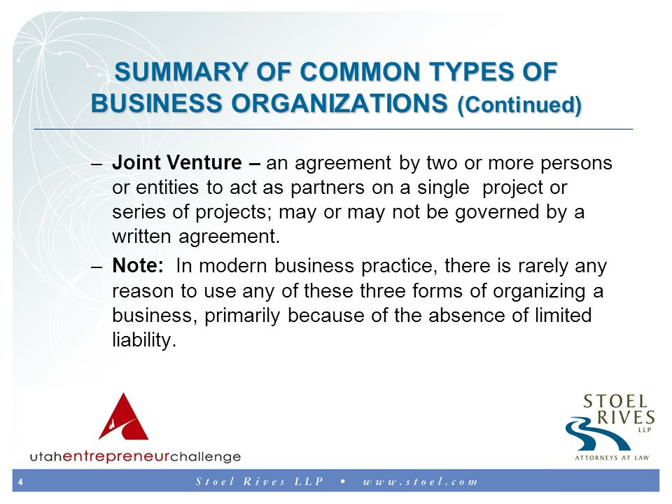 5 FACTORS THAT INFLUENCE CHOICE OF BUSINESS FORM Tax consequences (e.g., certain entities, such as C corporations, are generally less tax efficient than other entities, such as limited liability companies) Limited liability Ease of organization