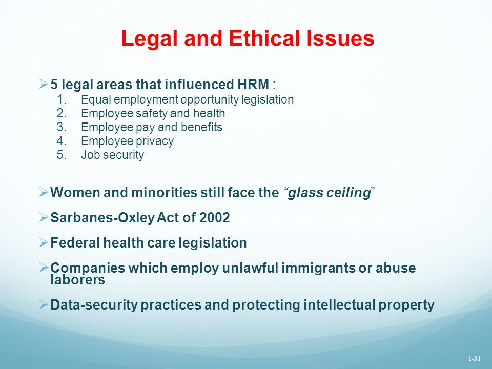 Legal and Ethical Issues  5 legal areas that influenced HRM : 1. Equal employment opportunity legislation 2. Employee safety and health 3. Employee p