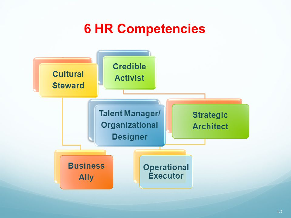 6 HR Competencies Credible Activist Cultural Steward Business Ally Strategic Architect Operational Executor Talent Manager/ Organizational Designer 1-