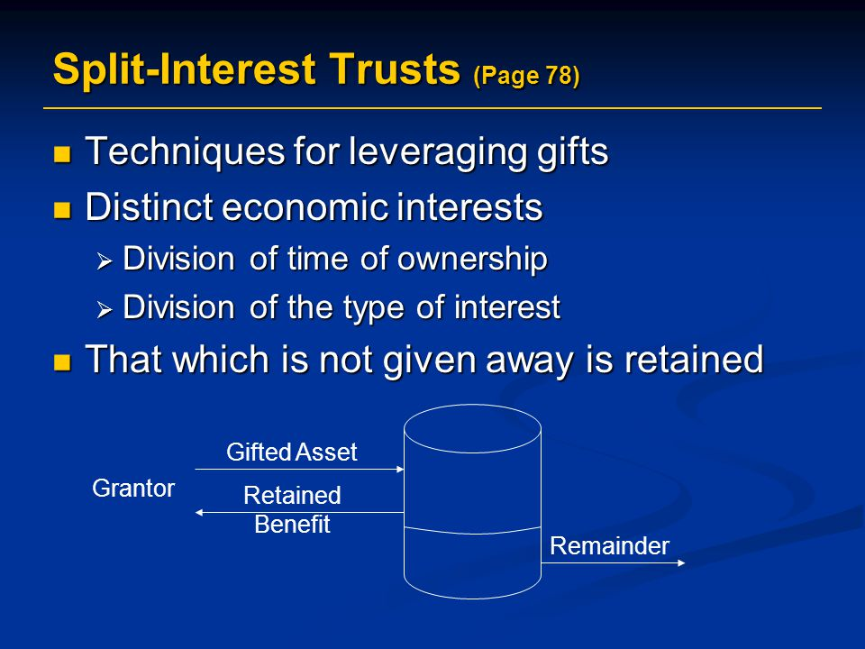 Techniques for leveraging gifts Techniques for leveraging gifts Distinct economic interests Distinct economic interests  Division of time of ownership  Division of the type of interest That which is not given away is retained That which is not given away is retained Split-Interest Trusts (Page 78) Grantor Gifted Asset Retained Benefit Remainder