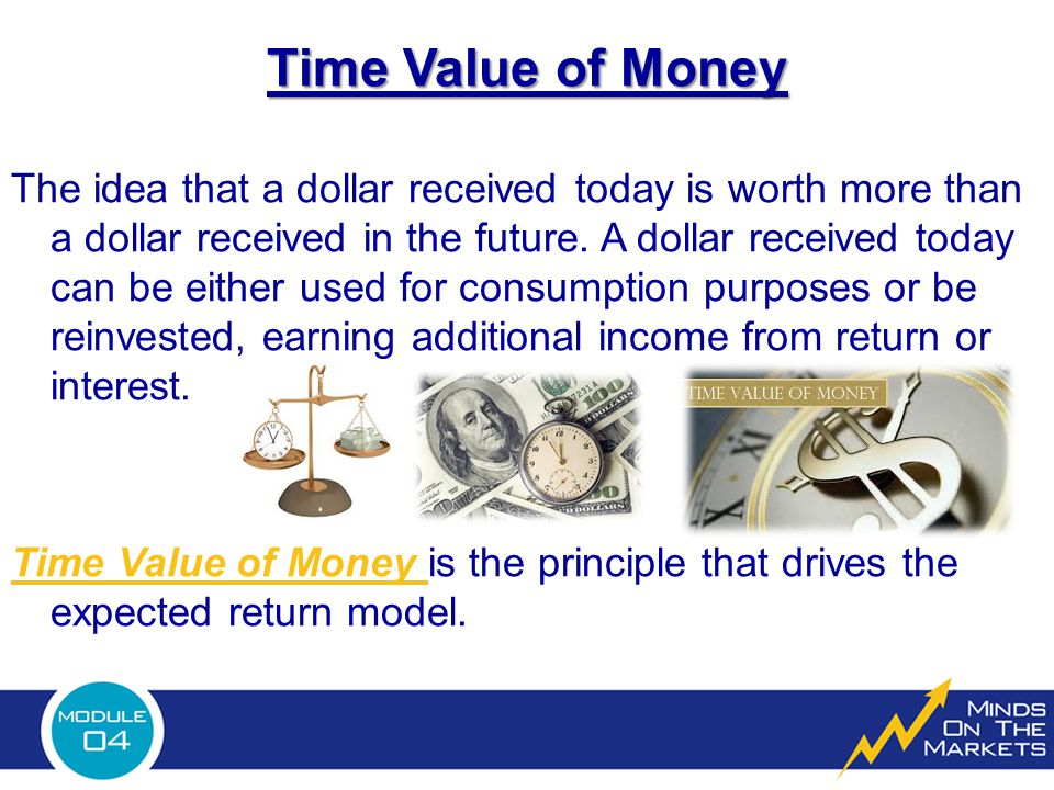 Time Value of Money The idea that a dollar received today is worth more than a dollar received in the future.