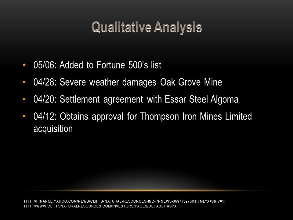 05/06: Added to Fortune 500's list 04/28: Severe weather damages Oak Grove Mine 04/20: Settlement agreement with Essar Steel Algoma 04/12: Obtains approval for Thompson Iron Mines Limited acquisition HTTP://FINANCE.YAHOO.COM/NEWS/CLIFFS-NATURAL-RESOURCES-INC-PRNEWS-3697739760.HTML X=0&.V=1; HTTP://WWW.CLIFFSNATURALRESOURCES.COM/INVESTORS/PAGES/DEFAULT.ASPX