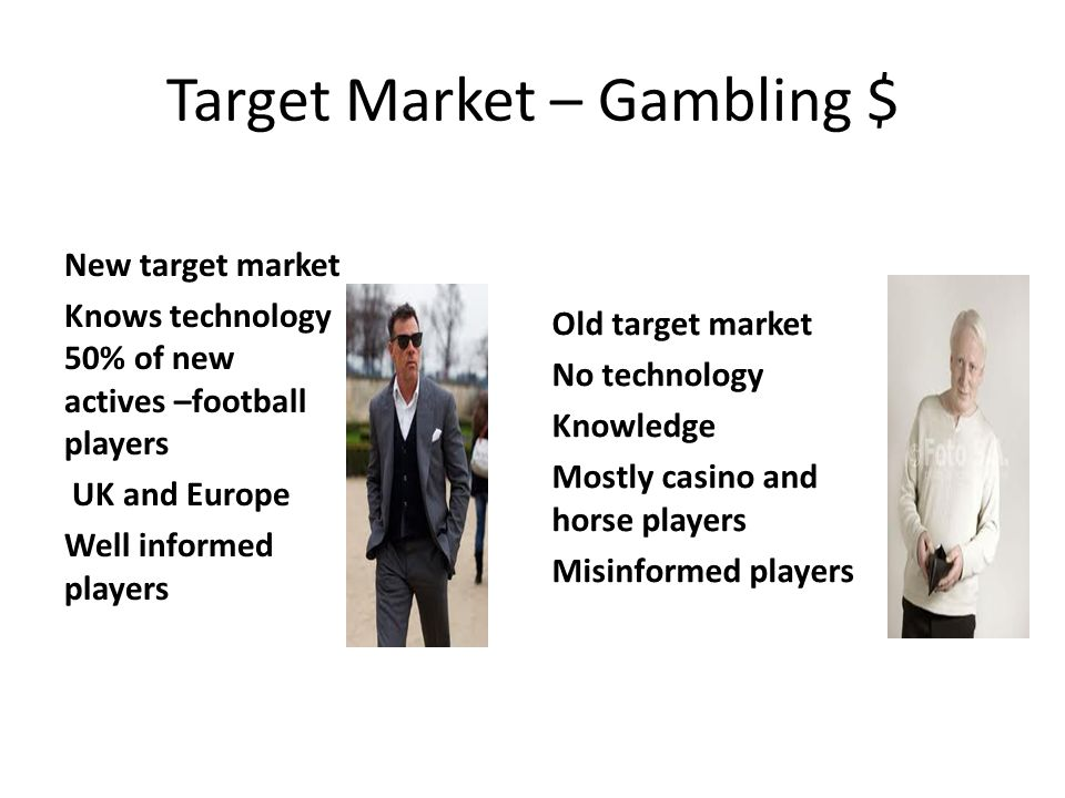 Target Market – Gambling $ Old target market No technology Knowledge Mostly casino and horse players Misinformed players New target market Knows techn