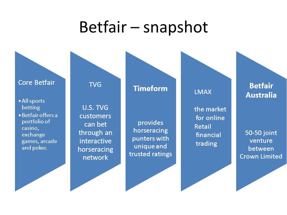 Betfair – snapshot Core Betfair All sports betting Betfair offers a portfolio of casino, exchange games, arcade and poker. TVG U.S. TVG customers can