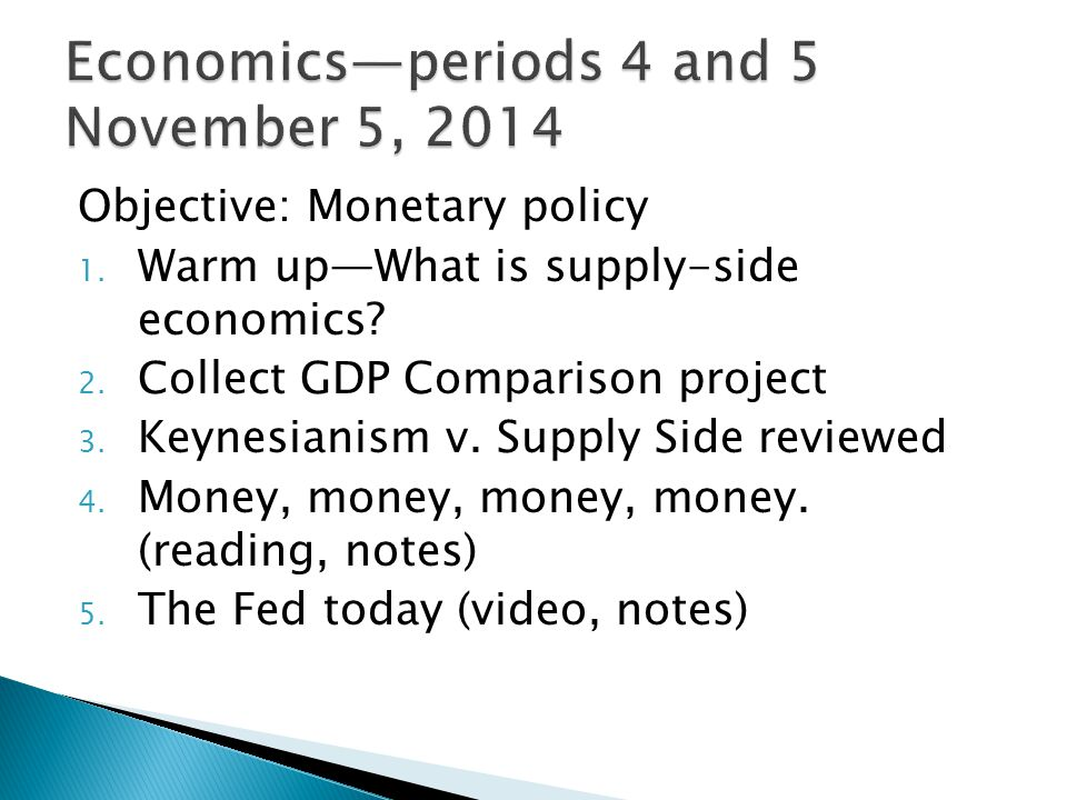 Objective: Monetary policy 1. Warm up—What is supply-side economics.