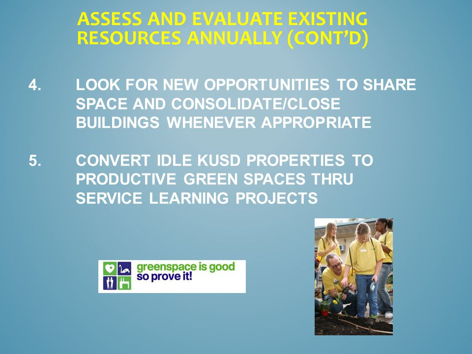 4.LOOK FOR NEW OPPORTUNITIES TO SHARE SPACE AND CONSOLIDATE/CLOSE BUILDINGS WHENEVER APPROPRIATE 5.CONVERT IDLE KUSD PROPERTIES TO PRODUCTIVE GREEN SPACES THRU SERVICE LEARNING PROJECTS ASSESS AND EVALUATE EXISTING RESOURCES ANNUALLY (CONT'D)