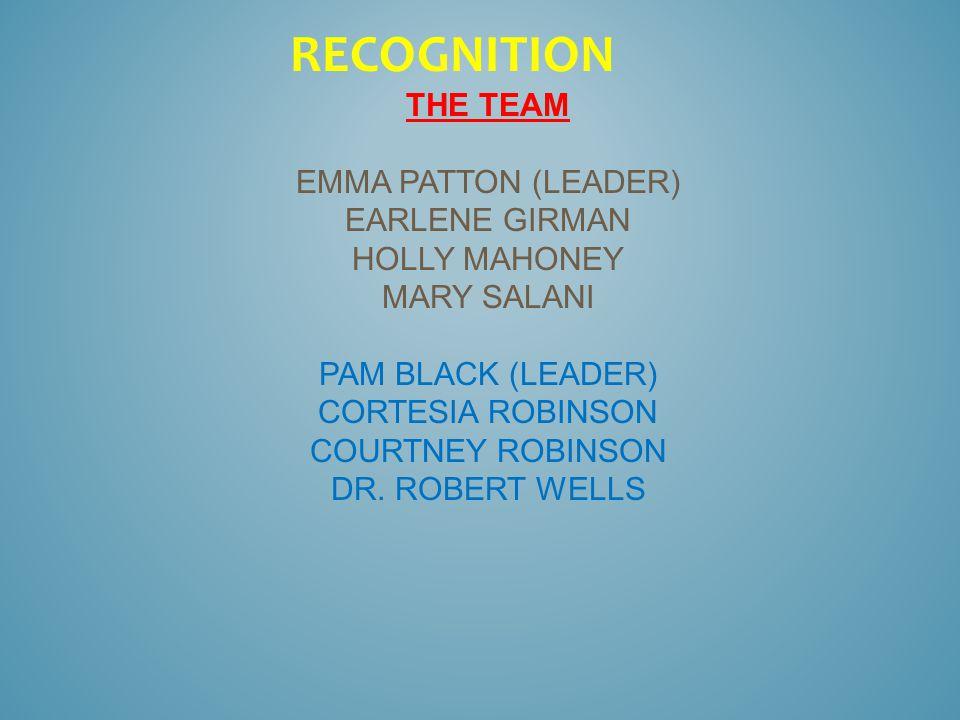 THE TEAM EMMA PATTON (LEADER) EARLENE GIRMAN HOLLY MAHONEY MARY SALANI PAM BLACK (LEADER) CORTESIA ROBINSON COURTNEY ROBINSON DR.