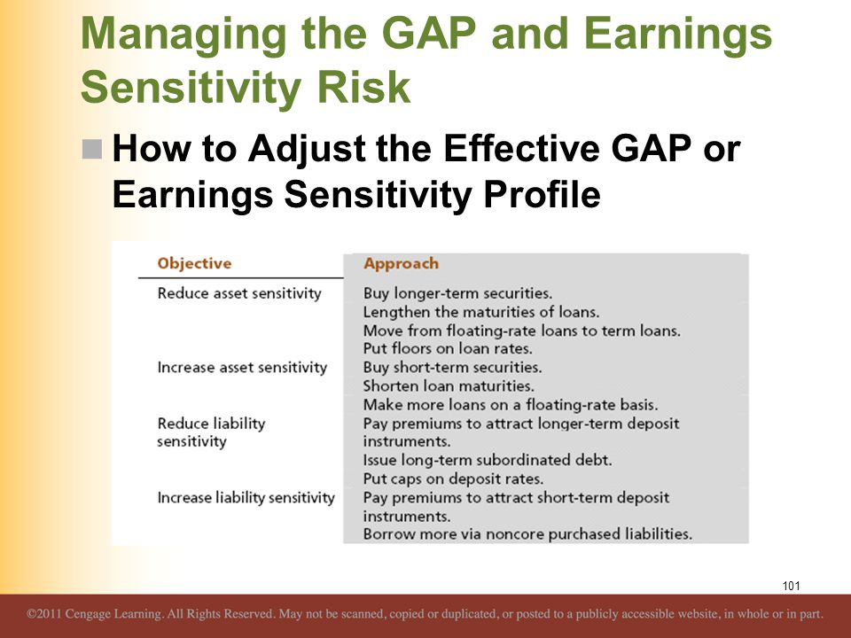 Managing the GAP and Earnings Sensitivity Risk How to Adjust the Effective GAP or Earnings Sensitivity Profile 101