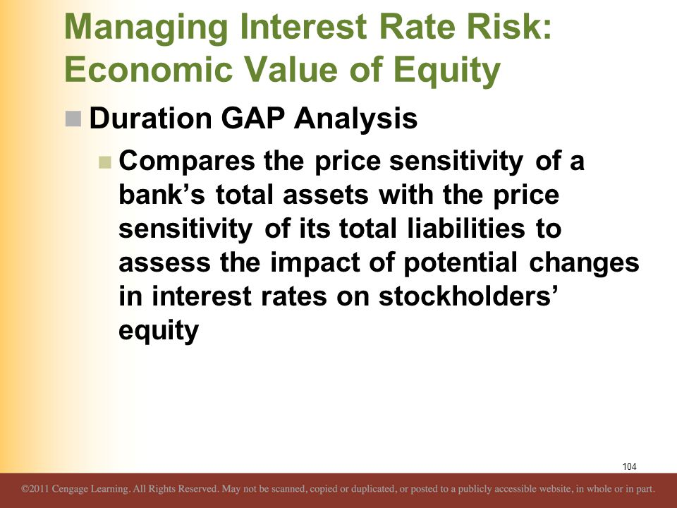 Managing Interest Rate Risk: Economic Value of Equity Duration GAP Analysis Compares the price sensitivity of a bank's total assets with the price sen