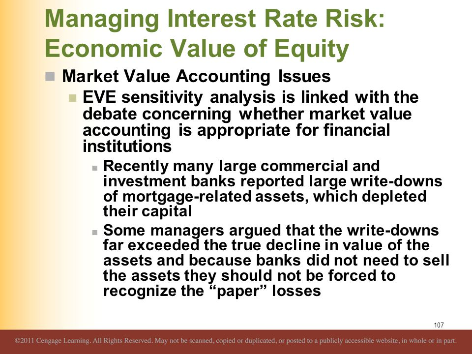 Managing Interest Rate Risk: Economic Value of Equity Market Value Accounting Issues EVE sensitivity analysis is linked with the debate concerning whe