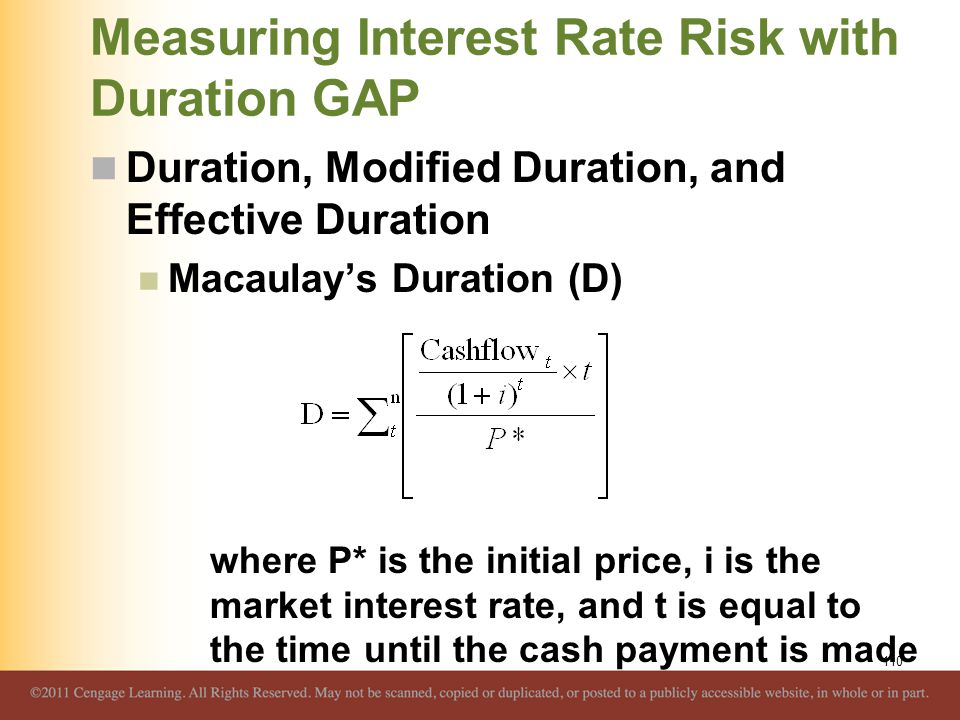 Measuring Interest Rate Risk with Duration GAP Duration, Modified Duration, and Effective Duration Macaulay's Duration (D) where P* is the initial pri