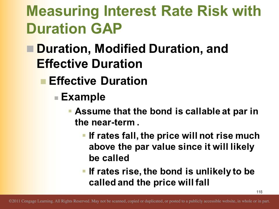 Measuring Interest Rate Risk with Duration GAP Duration, Modified Duration, and Effective Duration Effective Duration Example  Assume that the bond i