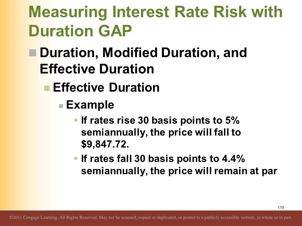 Measuring Interest Rate Risk with Duration GAP Duration, Modified Duration, and Effective Duration Effective Duration Example  If rates rise 30 basis