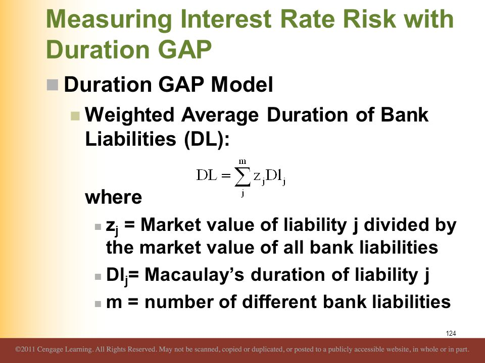 Measuring Interest Rate Risk with Duration GAP Duration GAP Model Weighted Average Duration of Bank Liabilities (DL): where z j = Market value of liab