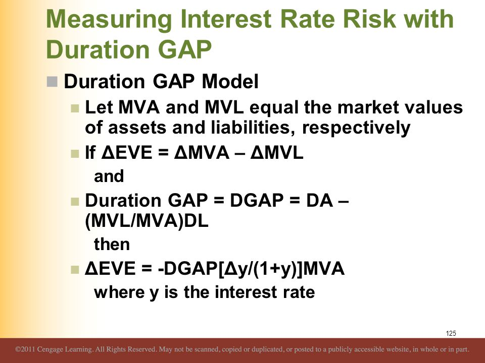 Measuring Interest Rate Risk with Duration GAP Duration GAP Model Let MVA and MVL equal the market values of assets and liabilities, respectively If Δ