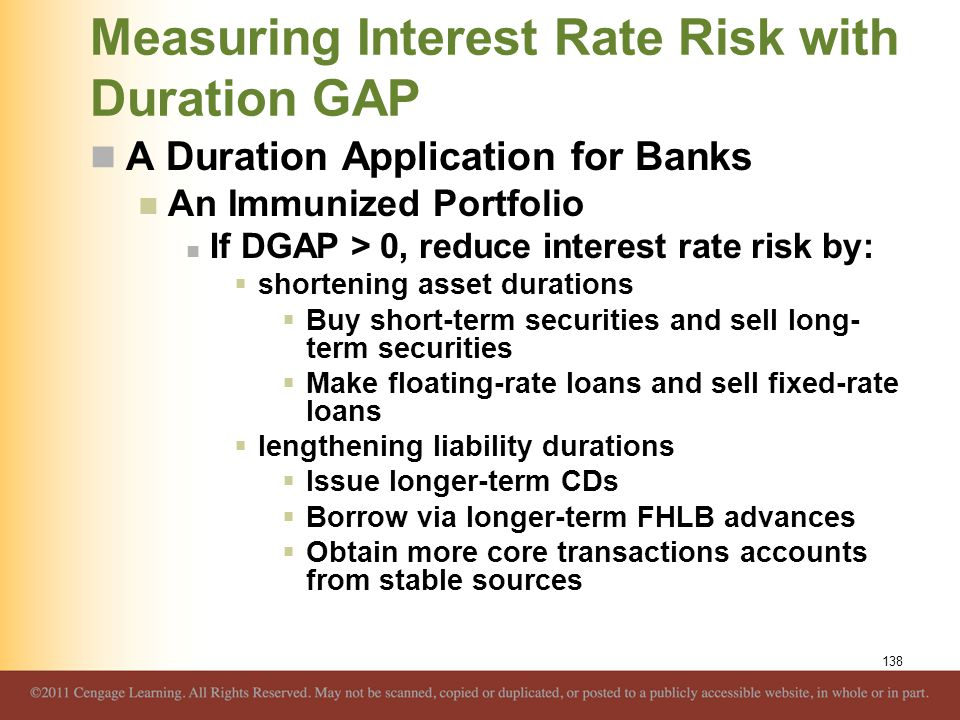 Measuring Interest Rate Risk with Duration GAP A Duration Application for Banks An Immunized Portfolio If DGAP > 0, reduce interest rate risk by:  sh