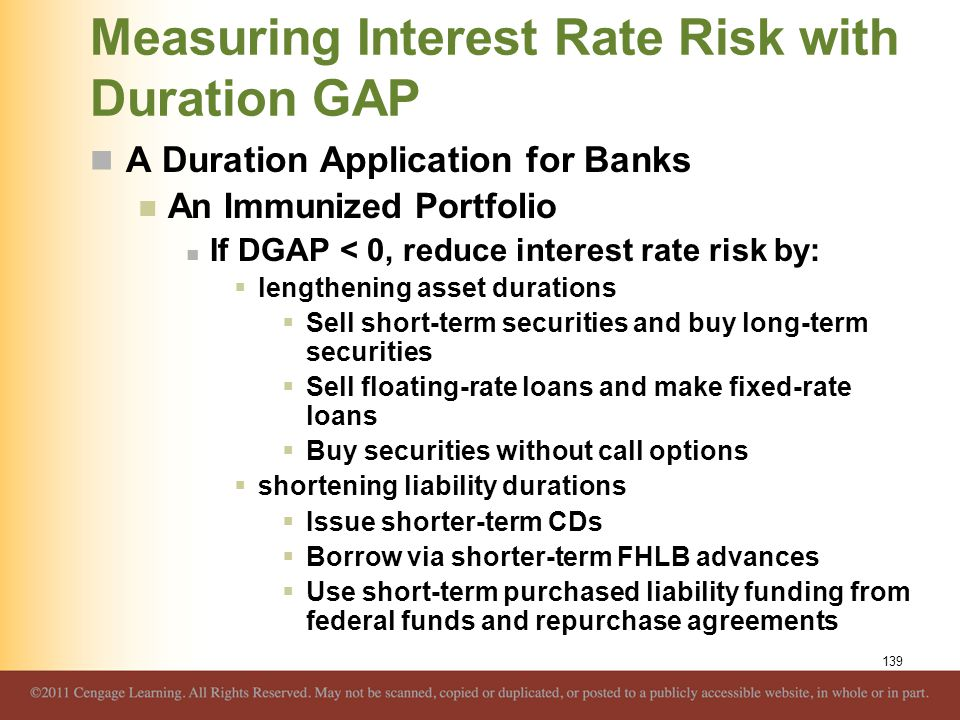 Measuring Interest Rate Risk with Duration GAP A Duration Application for Banks An Immunized Portfolio If DGAP < 0, reduce interest rate risk by:  le