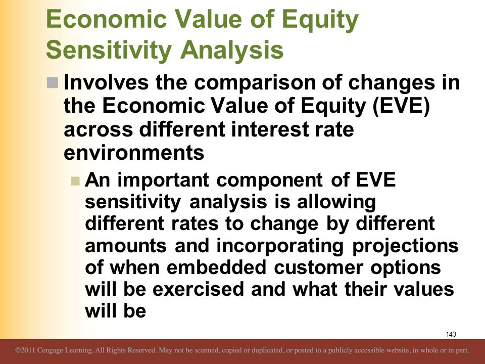 Economic Value of Equity Sensitivity Analysis Involves the comparison of changes in the Economic Value of Equity (EVE) across different interest rate