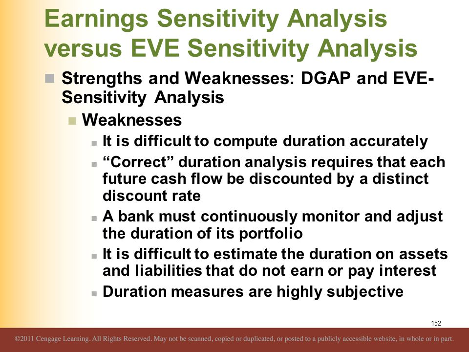 Earnings Sensitivity Analysis versus EVE Sensitivity Analysis Strengths and Weaknesses: DGAP and EVE- Sensitivity Analysis Weaknesses It is difficult