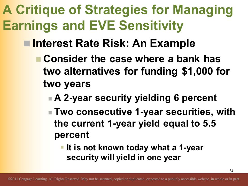 A Critique of Strategies for Managing Earnings and EVE Sensitivity Interest Rate Risk: An Example Consider the case where a bank has two alternatives