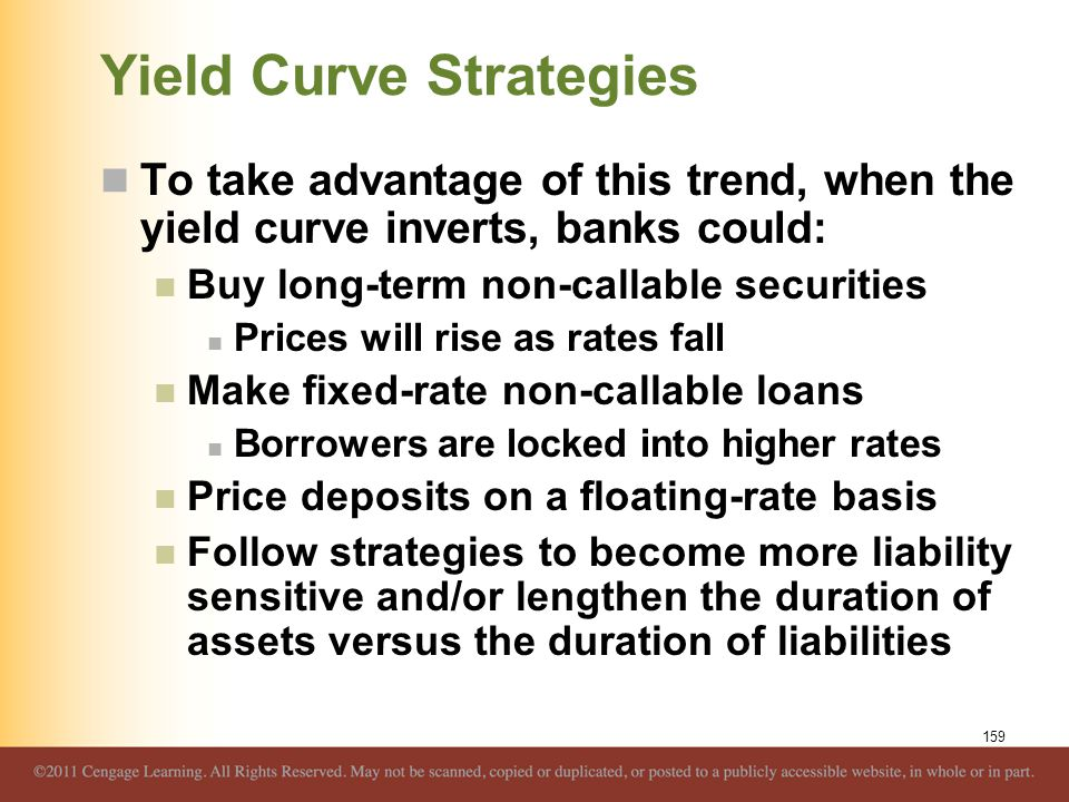 Yield Curve Strategies To take advantage of this trend, when the yield curve inverts, banks could: Buy long-term non-callable securities Prices will r
