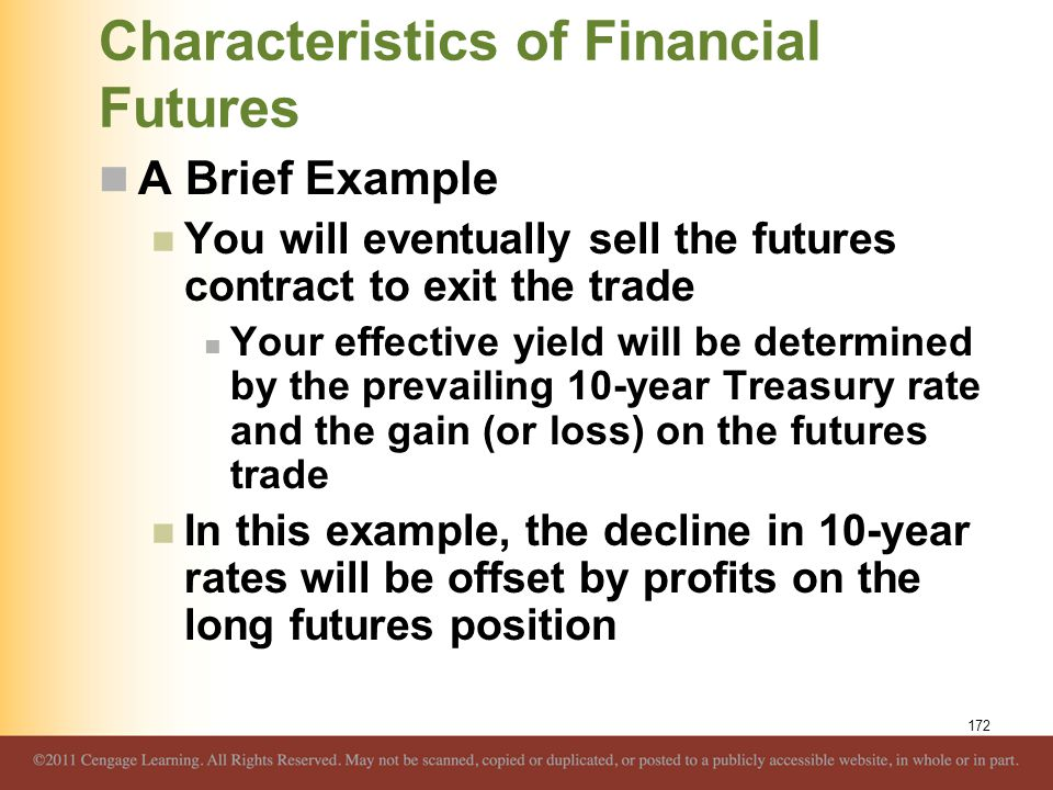 Characteristics of Financial Futures A Brief Example You will eventually sell the futures contract to exit the trade Your effective yield will be dete