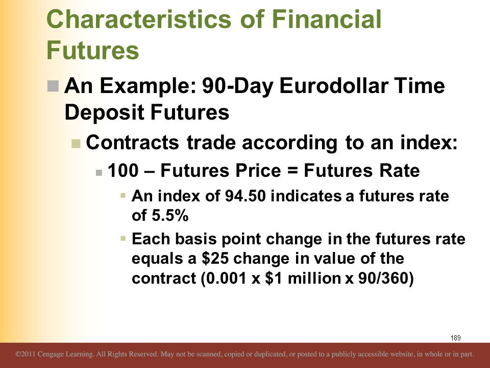 Characteristics of Financial Futures An Example: 90-Day Eurodollar Time Deposit Futures Contracts trade according to an index: 100 – Futures Price = F