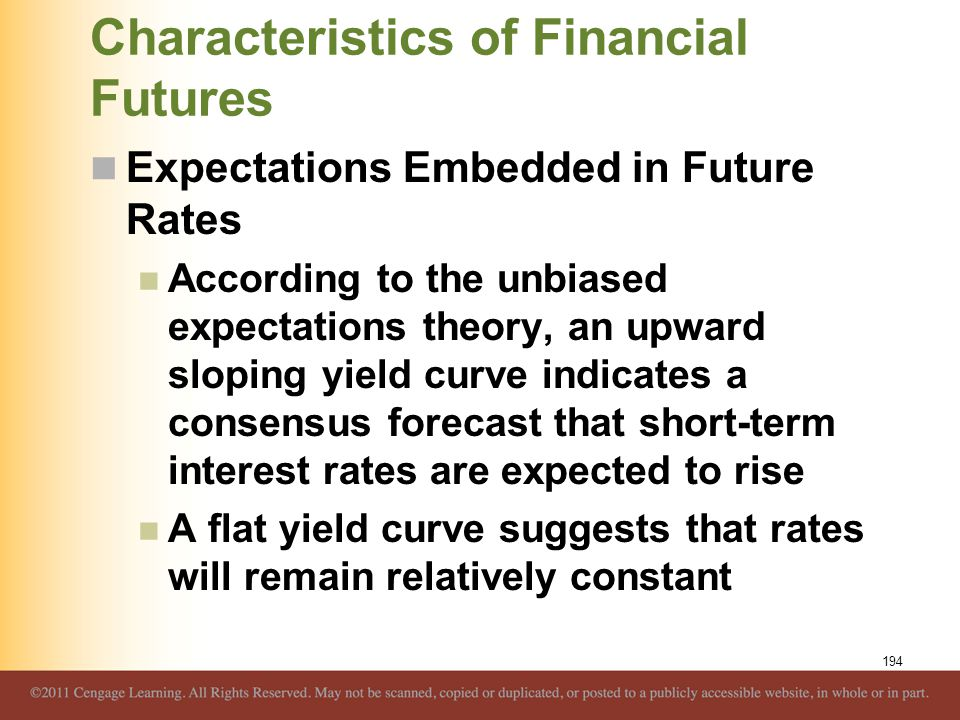 Characteristics of Financial Futures Expectations Embedded in Future Rates According to the unbiased expectations theory, an upward sloping yield curv