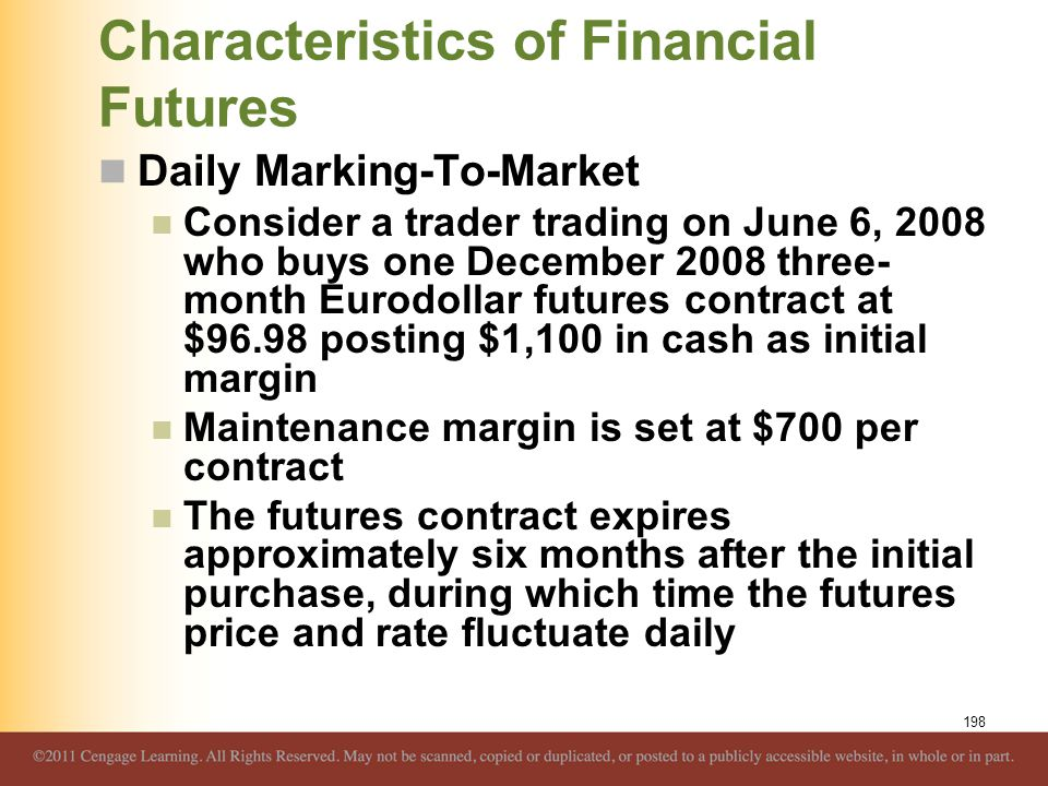 Characteristics of Financial Futures Daily Marking-To-Market Consider a trader trading on June 6, 2008 who buys one December 2008 three- month Eurodol