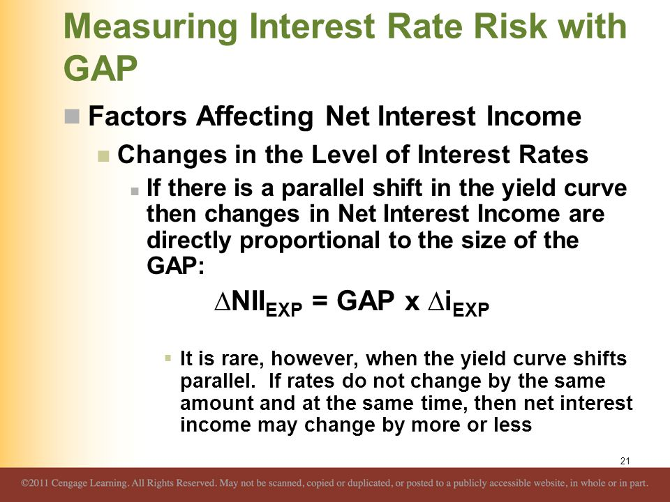 Measuring Interest Rate Risk with GAP Factors Affecting Net Interest Income Changes in the Level of Interest Rates If there is a parallel shift in the