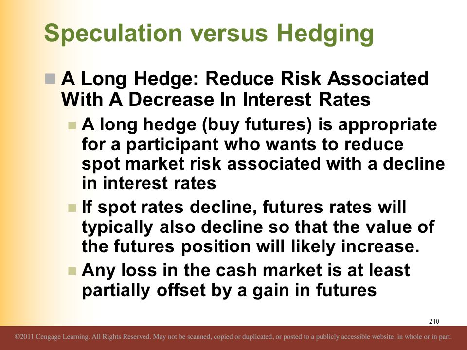 Speculation versus Hedging A Long Hedge: Reduce Risk Associated With A Decrease In Interest Rates A long hedge (buy futures) is appropriate for a part