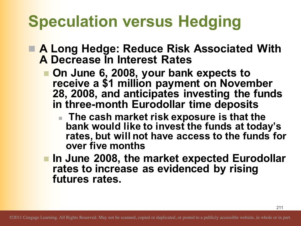 Speculation versus Hedging A Long Hedge: Reduce Risk Associated With A Decrease In Interest Rates On June 6, 2008, your bank expects to receive a $1 m
