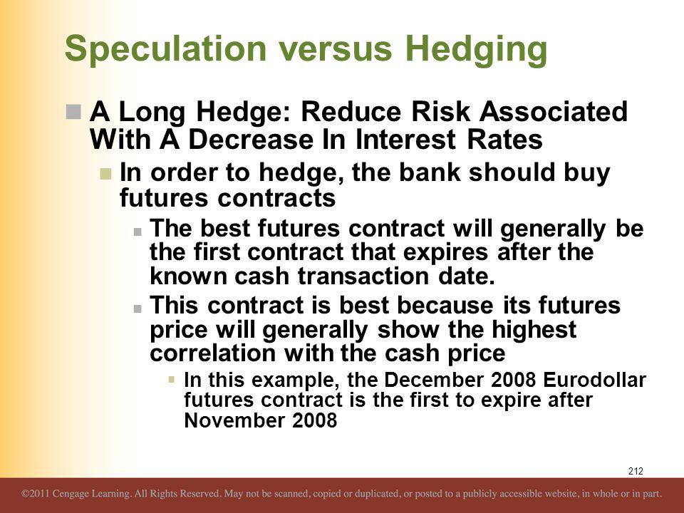 Speculation versus Hedging A Long Hedge: Reduce Risk Associated With A Decrease In Interest Rates In order to hedge, the bank should buy futures contr