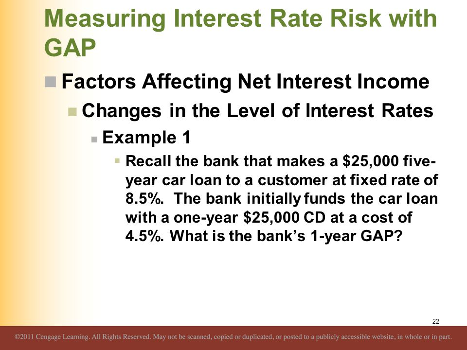 Measuring Interest Rate Risk with GAP Factors Affecting Net Interest Income Changes in the Level of Interest Rates Example 1  Recall the bank that ma
