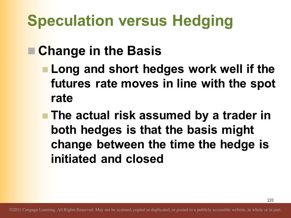 Speculation versus Hedging Change in the Basis Long and short hedges work well if the futures rate moves in line with the spot rate The actual risk as